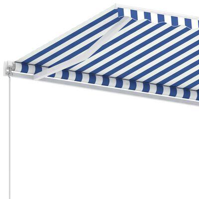 vidaXL Fristående markis manuellt infällbar 450x300 cm blå/vit