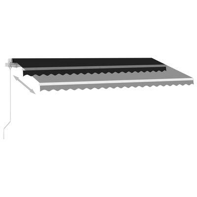vidaXL Markis manuellt infällbar med LED 450x350 cm antracit