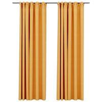 vidaXL Mörkläggningsgardin med krokar linnelook 2 st gul 140x225 cm