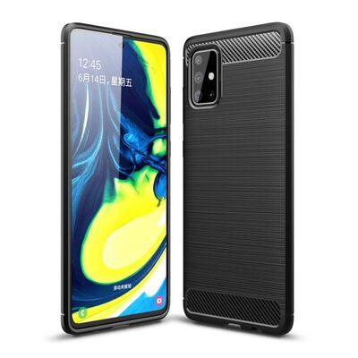 Samsung Galaxy A71 Karbon fiber Texture Skal - Svart