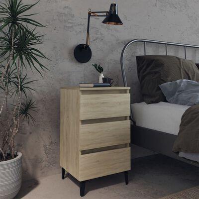 vidaXL Sängbord med metallben 2 st sonoma-ek 40x35x69 cm