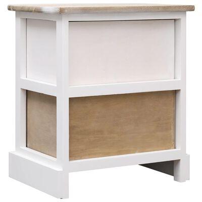 vidaXL Sängbord 2 st vit och naturträ 38x28x45 cm kejsarträ