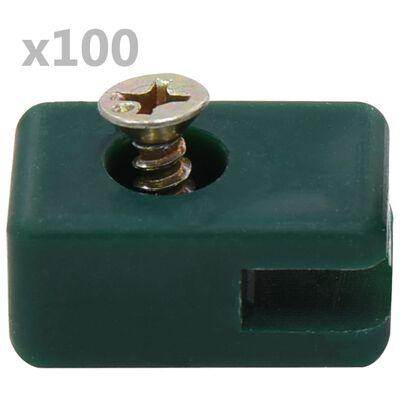 vidaXL Trådfäste till trädgårdsstängsel med skruv 100 set grön, Grön