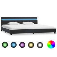 vidaXL Sängram med LED grå konstläder 180x200 cm