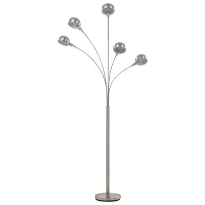 vidaXL Golvlampa 200 cm 5 x E14 silver