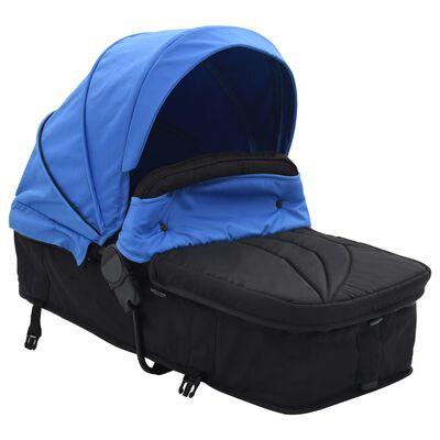 vidaXL 2-i-1 Sitt-/liggvagn blå och svart stål