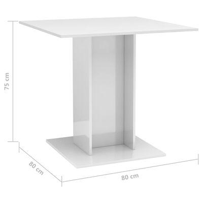 vidaXL Matbord vit högglans 80x80x75 cm spånskiva