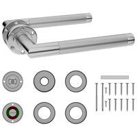 vidaXL Dörrhandtag set med WC-lås rostfritt stål