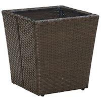 vidaXL Tebord brun 41,5x41,5x44 cm konstrotting och härdat glas, Brown