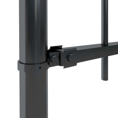 vidaXL Trädgårdsstaket med böjd topp stål 5,1x1 m svart