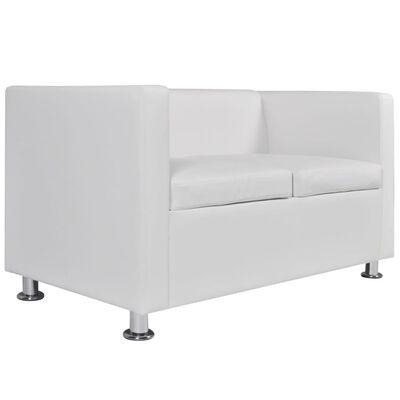 vidaXL Soffgrupp konstläder med 3-sits och 2-sits vit