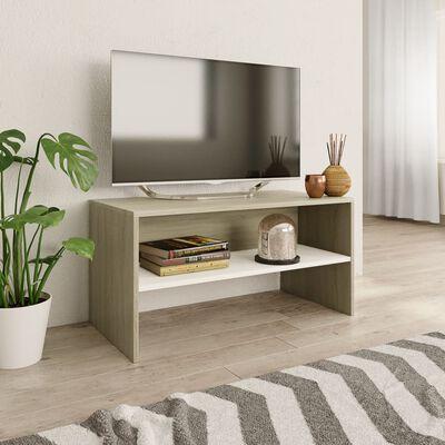 vidaXL TV-bänk vit och sonoma-ek 80x40x40 cm spånskiva