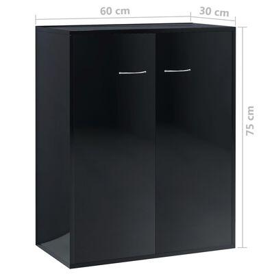 vidaXL Skänk svart högglans 60x30x75 cm spånskiva