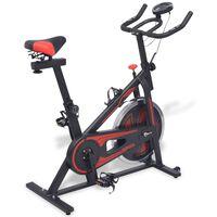 vidaXL Motionscykel med pulsmätare svart och röd