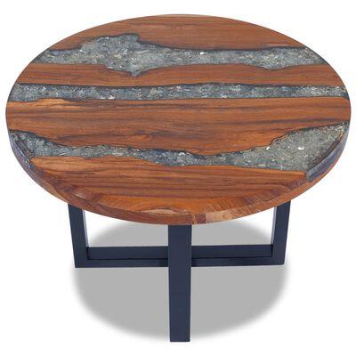 vidaXL Soffbord teakträ harts 60 cm, Flerfärgsdesign