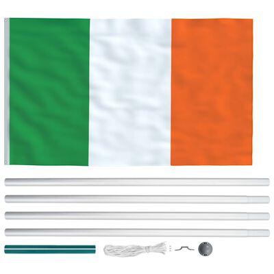 vidaXL Irlands flagga och flaggstång i aluminium 6,2 m