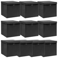vidaXL Förvaringslådor med lock 10 st svart 32x32x32 cm tyg