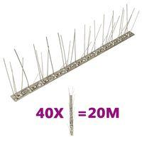 vidaXL 5-raders Fågelpiggar i rostfritt stål 40 st 20 m