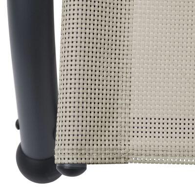 vidaXL Dubbel solsäng med tak textilen gräddvit