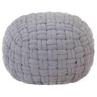 vidaXL Sittpuff flätad design grå 50x35 cm bomull