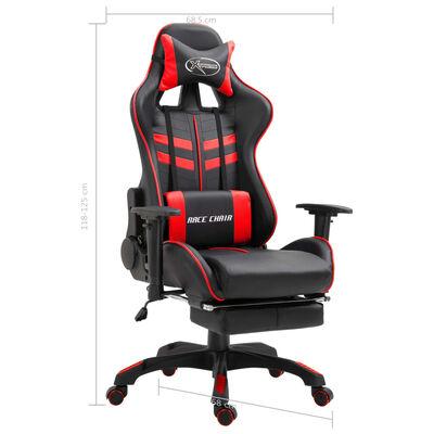 vidaXL Gamingstol med fotstöd röd konstläder