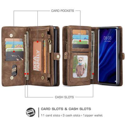 Huawei P30 Pro CASEME Retro läder plånboksfodral Brun