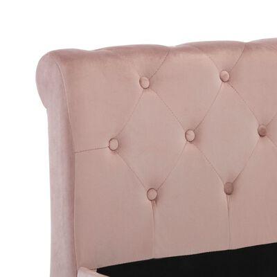vidaXL Sängram rosa sammet 180x200 cm