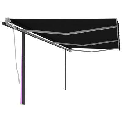 vidaXL Markis med stolpar manuellt infällbar 6x3,5 m antracit