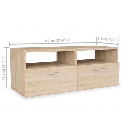 vidaXL TV-möbel spånskiva 95x35x36 cm ek