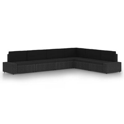 vidaXL Loungegrupp med dynor 6 delar konstrotting svart