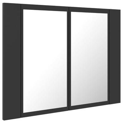 vidaXL Spegelskåp med LED grå 60x12x45 cm