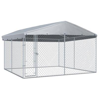 vidaXL Hundkennel med tak för utomhusbruk 382x382x225 cm