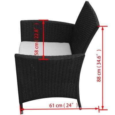 vidaXL Matgrupp för trädgården med dynor 7 delar konstrotting svart