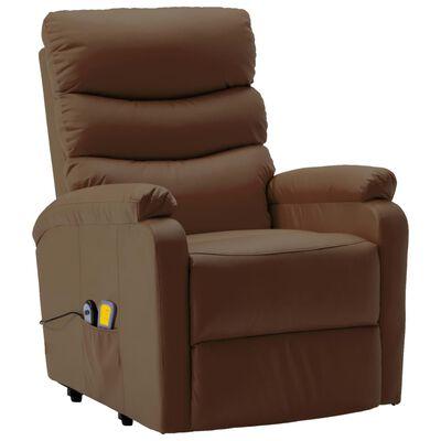vidaXL Massagefåtölj med uppresningshjälp brun konstläder