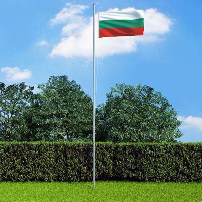vidaXL Bulgariens flagga och flaggstång i aluminium 4 m