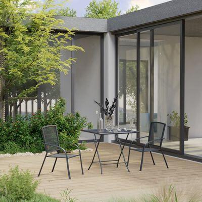vidaXL Matgrupp för trädgården 3 delar stål antracit