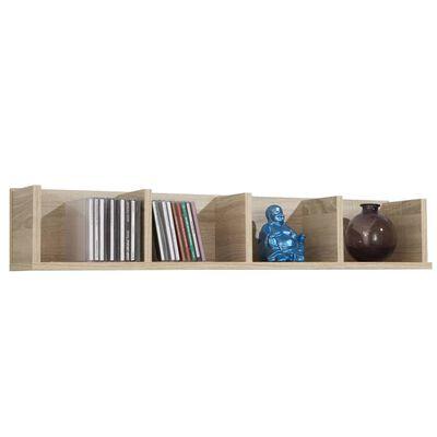 FMD Väggmonterad hylla med 4 fack 92x17x16,5cm ek