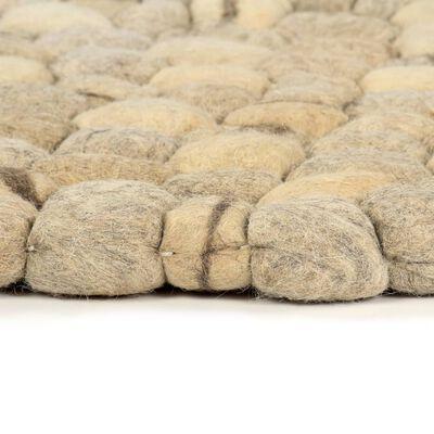 vidaXL Filtbollsmatta ull 80x150 cm beige/grå/brun/choklad
