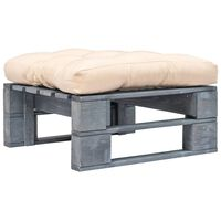 vidaXL Pallottoman med sandfärgade dynor grått trä