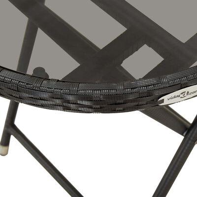 vidaXL Caféset 3 delar konstrotting och härdat glas svart
