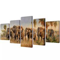 Uppsättning väggbonader på duk: elefanter 100 x 50 cm