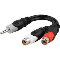 DELTACO multimedia-adapter 3,5mm ha till 2xRCA ho