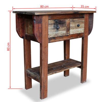 vidaXL Konsolbord massivt återvunnet trä 80x35x80 cm