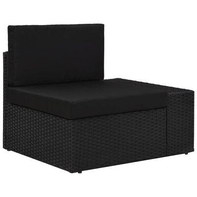 vidaXL Loungegrupp för trädgården 6 delar konstrotting svart, Svart