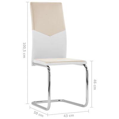 vidaXL Fribärande matstolar 6 st cappuccino konstläder