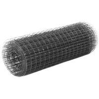 vidaXL Hönsnät stål med PVC-beläggning 25x0,5 m grå