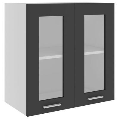 vidaXL Väggskåp med glasdörrar grå 60x31x60 cm spånskiva