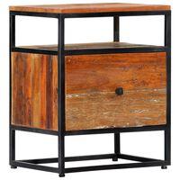 vidaXL Sängbord 40x30x50 cm massivt återvunnet trä och stål