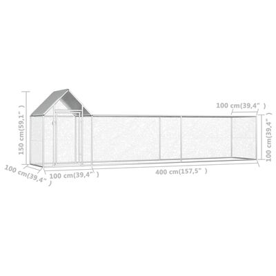 vidaXL Hönsbur 5x1x1,5 m galvaniserat stål