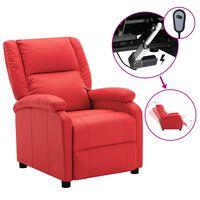 vidaXL Elektrisk reclinerfåtölj röd konstläder
